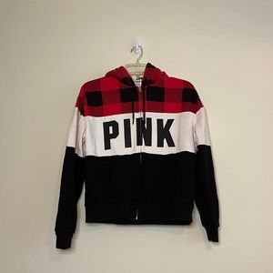 PINK VS Full Zip Red Checkered Sherpa Hoodie